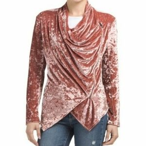 Blank NYC Rose Crush Velvet Draped Blazer Jacket